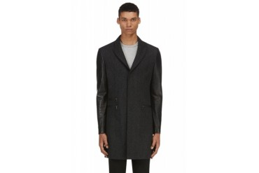 Neil Barrett Black Wool And Leather Coat