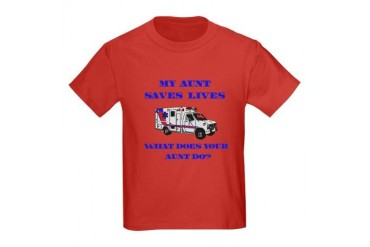 Ambulance Saves Lives-Aunt Kids Dark T-Shirt