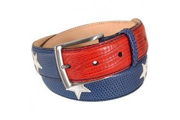 Stars and Stripes Patchwork Leather Belt
