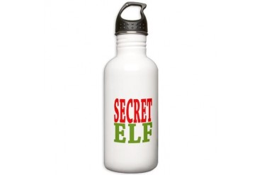 Secret Elf Christmas Stainless Water Bottle 1.0L by CafePress