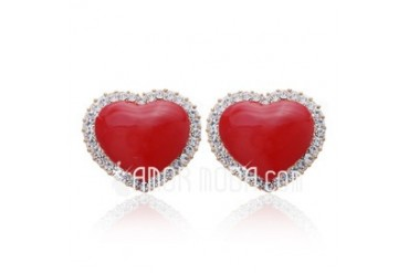 Heart Shaped Alloy Crystal Coloured Glaze Ladies' Fashion Earrings (011027325)