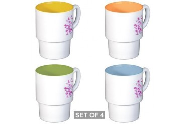 Daisy Dragonfly Dazzled Nature Stackable Mug Set 4 mugs by CafePress