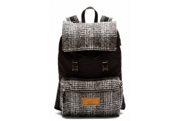 Ami Alexandre Mattiussi Black Wool Tweed Panel Backpack