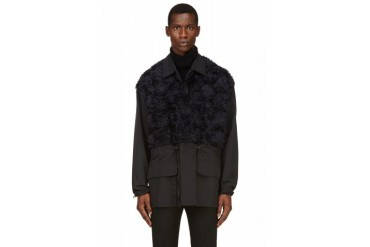 3.1 Phillip Lim Black And Navy Faux fur Coat