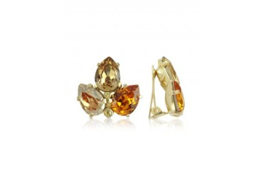 Amber Crystal Clip-On Earrings