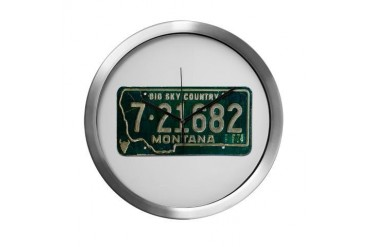 1974 Montana License Plate Western Modern Wall Clock by CafePress