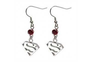 DC Comics Superman Logo Dangle Silver Red Gem Stainless Steel Earrings
