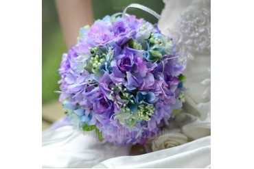 Charming Round Satin Bridal Bouquets (124032160)