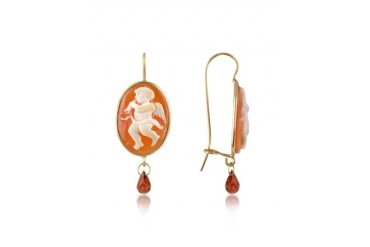 Angel w/Flute Cornelian Cameo Drop Earrings