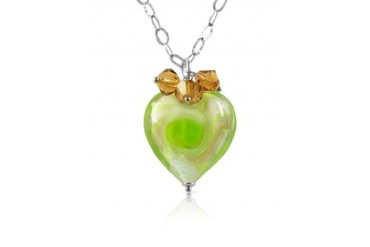 Vortice - Lime Murano Glass Swirling Heart Sterling Silver Necklace