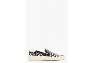 Saint Laurent Black And White Babycat Print Slip on Shoes