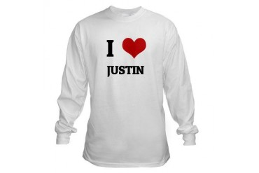 I Love Justin Cute Long Sleeve T-Shirt by CafePress