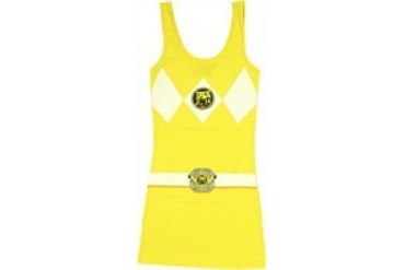 Mighty Morphin Power Rangers Yellow Suit Costume Snug Fit Tank Top Dress