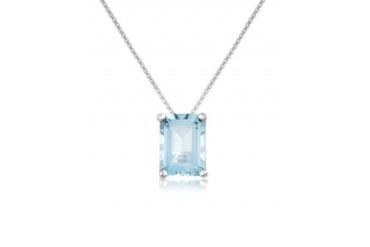Aquamarine 18K Gold Pendant Necklace