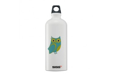 Blue Green Bow Owl Animal Sigg Water Bottle 0.6L by CafePress