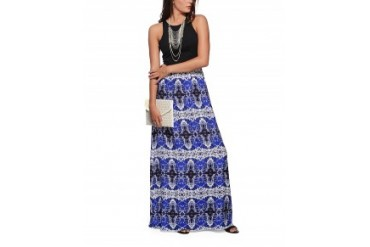Nell Solid Racerback and Printed Maxi Dress Royal Blue, XS