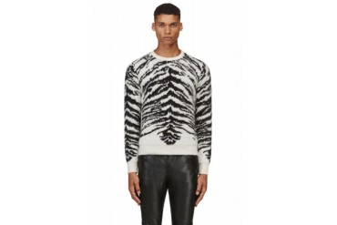 Saint Laurent Black And Ivory Tiger Mohair Sweater