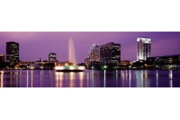 View Of A City Skyline At Night, Orlando, Florida, USA Print by