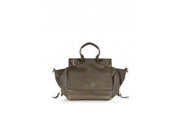 Johan Khaki Grain Leather and Velvet Satchel
