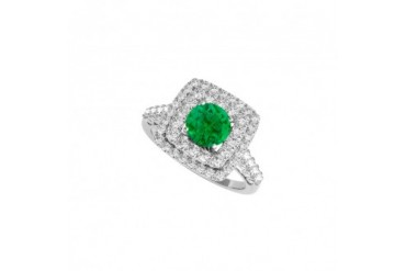 May Birthstone Emerald and CZ Ring 2.00 CT TGW