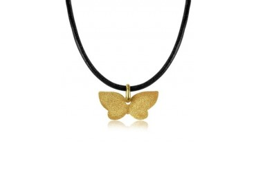 Golden Silver Etched Butterfly Pendant w/Leather Lace