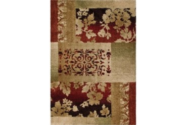Orian Wild Weave Contemporary Beige Patchwork Petals Vines Leaves Area Rug