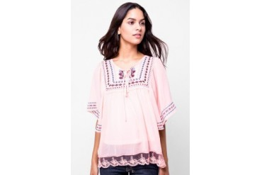 Chanira Blouse Chiffon Mix Embro & Lace