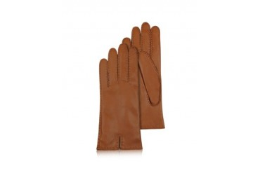 Women's Cashmere Lined Brown Italian Leather Gloves