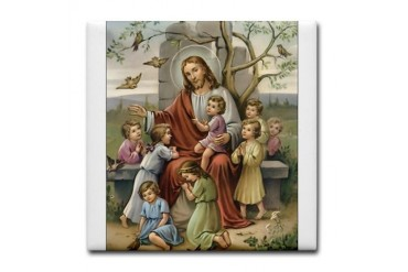Jesus and Children Vintage Tile Coaster by CafePress