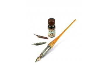 Handmade Red Gold Leaf Murano Glass Writing Set