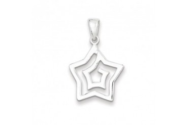 19mm Polished Star Pendant in Sterling Silver