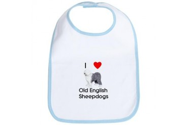 I Love Old English Sheepdogs pic Pets Bib by CafePress