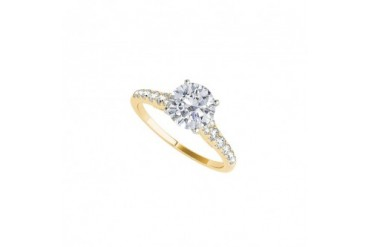 Yellow Gold Engagement Ring Jewelry with Prong Set CZ