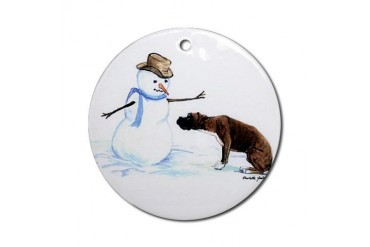 Boxer and Snowman Ornament (Round)