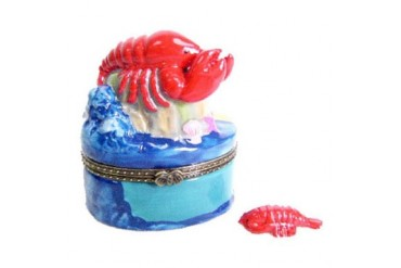 Delicacy Spiny Red Lobster Porcelain Hinged Trinket Box phb