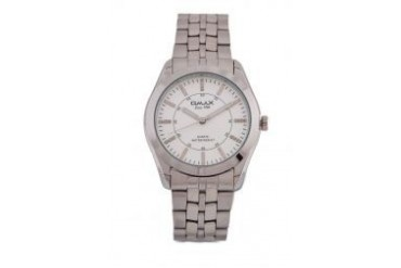 Omax AS0049S/S-White Dial Alloy Silver Strap Watch
