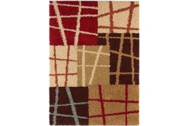 Tayse Casual Shag Shag Flokati Beige Abstract Boxes Stripes Lines Area Rug
