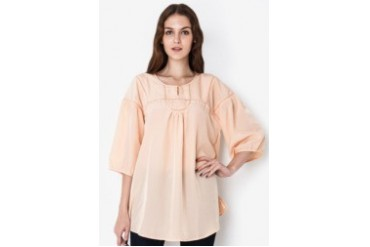 Triset Ladies Long Sleeve Blouse W/O Collar