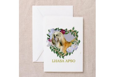 Lhasa Apso Valentine Heart Blonde Greeting Cards Valentines day Greeting Cards Pk of 10 by CafePress