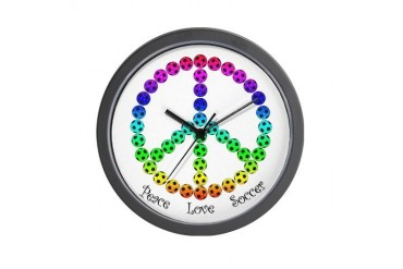 Peace. Love. Soccer. Soccer Wall Clock by CafePress