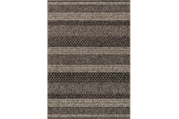 Orian Wild Weave Contemporary Black Striped Crosshatch Bars Rows Area Rug
