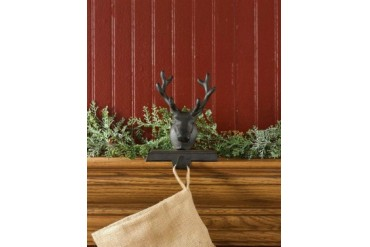 Reindeer Deer With Antlers Christmas Stocking Hanger Mantle Holiday Decor