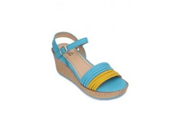 Blue/Yellow Wedge Sandals