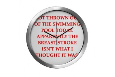swimming Funny Modern Wall Clock by CafePress