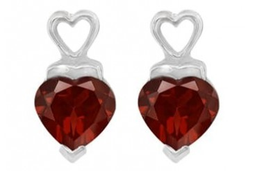 January Birthstone Garnet Heart Shaped Stud Earrings in Sterling Silver