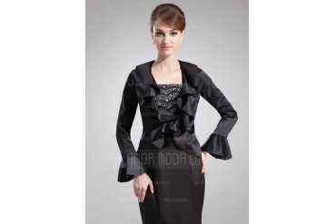 Long Sleeve Charmeuse Special Occasion Wrap (013012509)