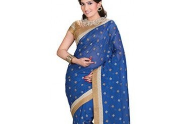 Phenomenal Blue Embroidered Supernet Saree