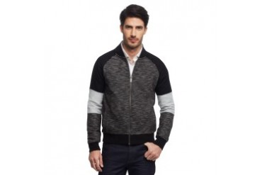 Raglan Pieced Full-Zip Sweatshirt