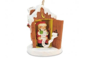 Santa in Outhouse Making His List Christmas Ornament