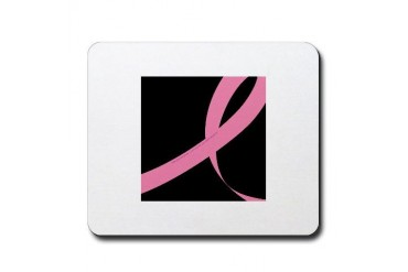 2006 RIBBON 01 - BLK Breast cancer Mousepad by CafePress